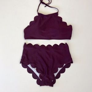 Purple High Waist Bikini Set Swimsuit Size S